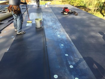 EPDM Rubber Flat Roof Installed by On Time Remodeling Corp